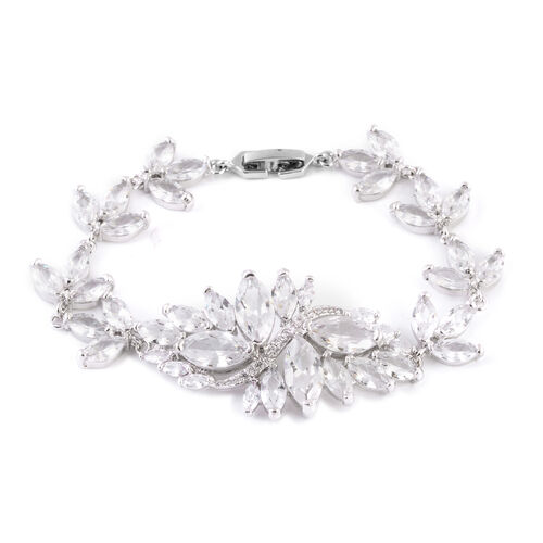 Simulated White Diamond (Mrq) Floral Bracelet (Size 7) in Silver Tone