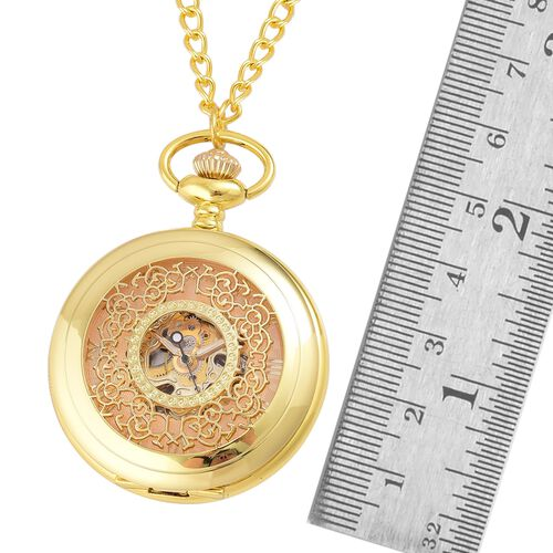 GENOA Automatic Skeleton Golden Dial Water Resistant Pocket Watch with Cutout Pattern Cover and Chain (Size 32) in Yellow Gold Tone