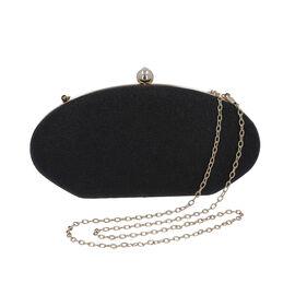 Black Sparkly Clutch Bag with Detachable Shoulder Chain (Size 25x5x12 Cm)
