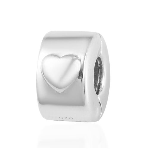 Charms De Memoir Platinum Overlay Sterling Silver Openable Heart Charm, Silver wt 3.64 Gms