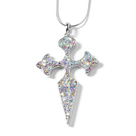 Magic Colour Austrian Crystal (Rnd) Fleur de Lis Pendant with Chain (Size 29 and 2.5 inch Extender) in Silver Tone