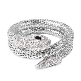 White Austrian Crystal and Simulated Black Spinel Snake Bracelet (Size 7.5) in Silver Tone