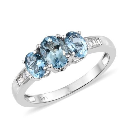 Close Out Deal-14K White Gold AA Santa Maria Aquamarine (Ovl), Diamond Ring 1.650 Ct. Gold Wt 3.09 Gms