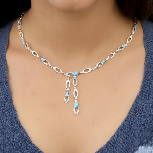 Designer Inspired- Arizona Sleeping Beauty Turquoise and Natural Zircon Necklace (Size 18) in Platinum Overlay Sterling Silver