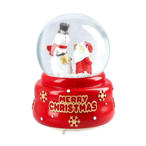 Christmas Theme Snowman and Santa Glass Music Ball with Auto Snowing (15x10cm) - Red