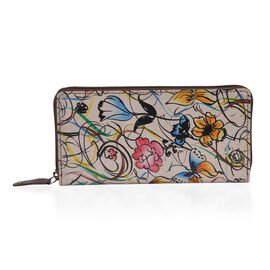 SUKRITI 100% Genuine Leather Abstract Flower Pattern Wallet with RFID Blocker (Size 20x10 Cm) - Mult