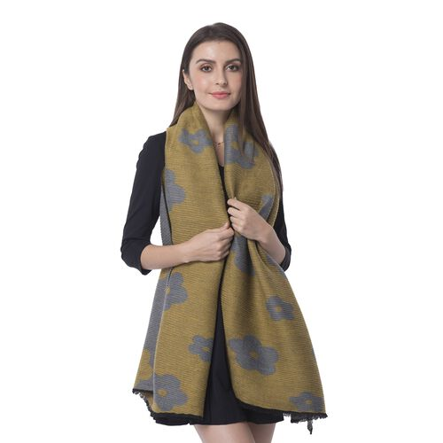 Designer Inspired- Plum Blossom Flower Pattern Scarf (Size 170x65cm) -  Mustard Colour