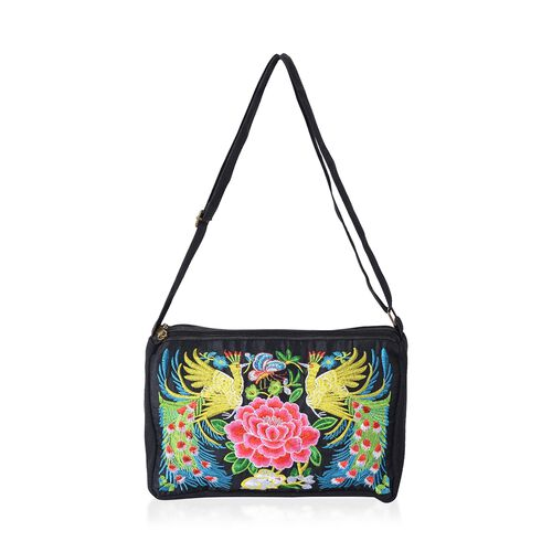 Shanghai Collection Peacock Embroidery  Cross Body Bag with Adjustable Shoulder Strap (Size 27x16.5x7.5 Cm)