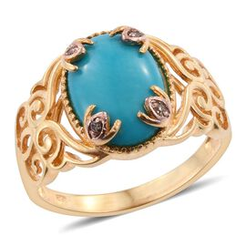 Arizona Sleeping Beauty Turquoise (Ovl), Natural Champagne Diamond Ring in 14K Gold Overlay Sterling