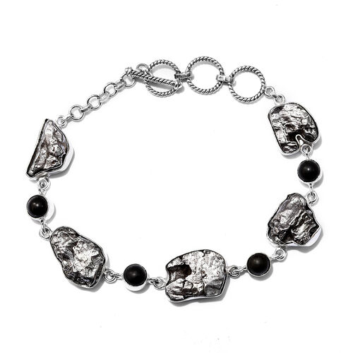 Artisan Crafted : Meteorite and Shungite Bracelet (Size 9 with T-Lock) in Sterling Silver 91.80 Ct,
