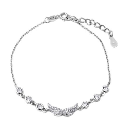 ELANZA Simulated Diamond (Rnd) Adjustable Bracelet (Size 6.75 with 1 inch Extender) in Rhodium Overl