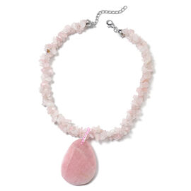 Rose Quartz, Simulated Pink Sapphire Adjustable Necklace (Size 20 with 2 inch Extender) in Silver To