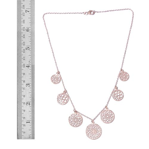 Designer Inspired Rose Gold Overlay Sterling Silver Floral Disc Necklace (Size 18), Silver wt. 8.01 Gms.