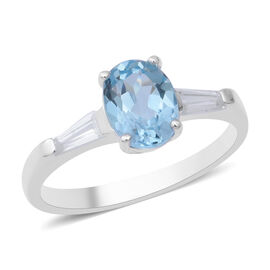 Sky Blue Topaz (Ovl), Natural White Cambodian Zircon Ring in Sterling Silver 1.93 Ct.