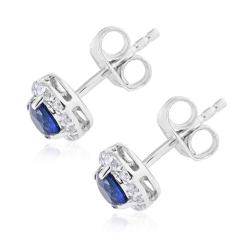 9K White Gold AA Himalayan Kyanite (Rnd), Natural White Cambodian Zircon Earring (with Push Back) 1.000 Ct
