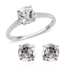 2 Piece Set 2 Ct Petalite Solitaire Ring and Stud Earrings in Sterling Silver