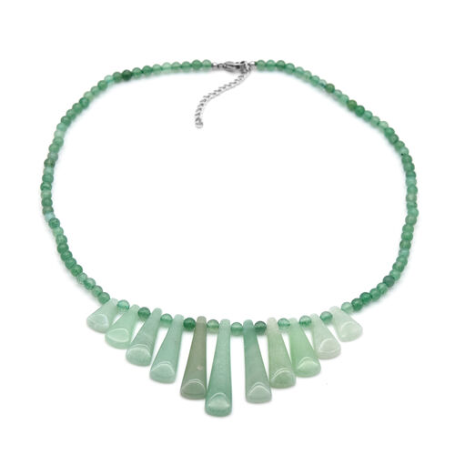Green Aventurine Necklace (Size 18 with 2 inch Extender) in Stainless Steel 138.74 Ct.