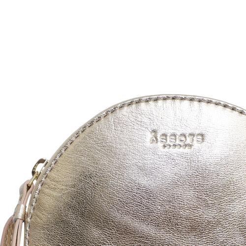 Assots London DISC Metallic Genuine Leather Round Mini Crossbody Bag - Rose Gold