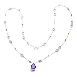 RACHEL GALLEY Lusaka Amethyst and Russian Diopside Necklace (Size 40) in Rhodium Overlay Sterling Si