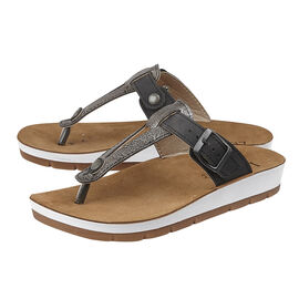 Lotus Palermo Toe-Post Sandals (Size 3) - Black & Pewter