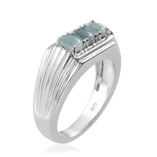 Grandidierite Trilogy Ring in Platinum Overlay Sterling Silver 1.00 Ct, Silver wt 7.35 Gms