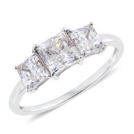 J Francis - 9K W Gold (Princess Cut) 3 Stone Ring Made with SWAROVSKI ZIRCONIA