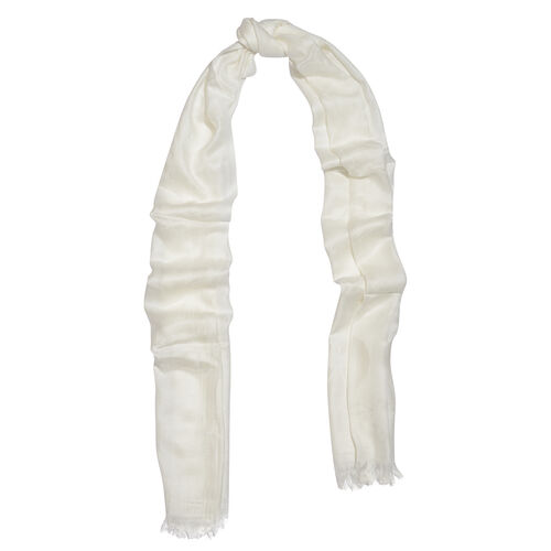 White Colour Reversible Scarf with Fringes (Size 180X70 Cm)