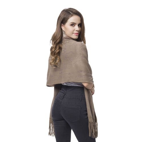 Designer Inspired-Chocolate Colour Faux Fur Wrap with Tassels (Size 176X55 Cm)