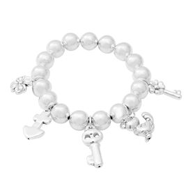 Stretchable Multi Charm Bead Bracelet in Sterling Silver 31.42 Grams 7.25 Inch
