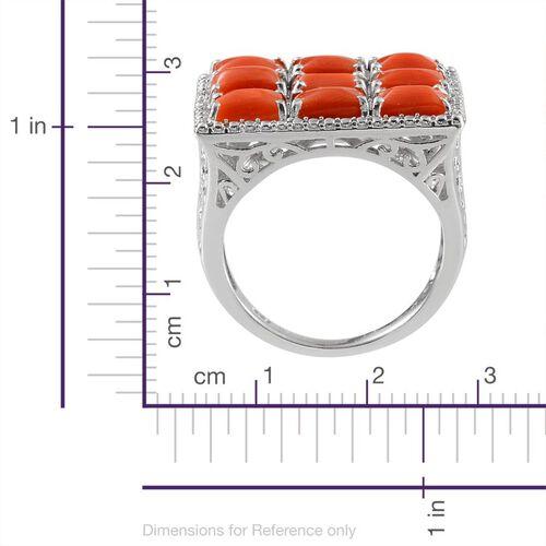 Natural Mediterranean Coral (Bgt), Diamond Ring in Platinum Overlay Sterling Silver 4.770 Ct.