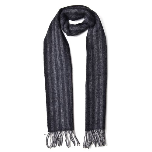 New Season-100% Wool Black and Grey Colour Stripes Pattern Scarf with Tassels (Size 200X30 Cm)