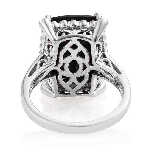 Australian Midnight Tourmaline (Cush), White Topaz Ring in Platinum Overlay Sterling Silver 11.115 Ct.