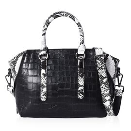 100% Genuine Leather Croc Embossed Tote Bag with Snake Skin Pattern Removable Shoulder Strap (Size 2