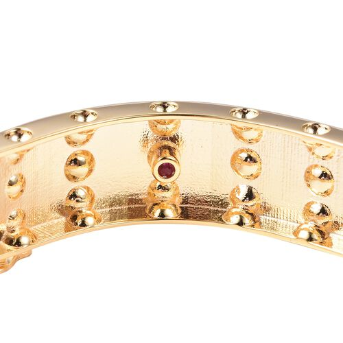 RACHEL GALLEY Majestic Collection Burmese Ruby (Rnd) Bangle (Size 8) in Yellow Gold Overlay Sterling Silver, Silver wt 43.79 Gms