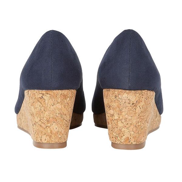 Lotus Microfibre Odina Peep-Toe Wedge Shoes (Size 7) - Navy