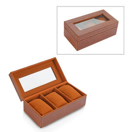 Croc Embossed Leather Watch Box with 3 Section Watch Cushions (Size 21x11x7.5 Cm) - Olive Brown