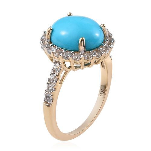 9K Yellow Gold  Arizona Sleeping Beauty Turquoise (Ovl 11x9 mm), Natural Cambodian Zircon Ring 4.00 Ct