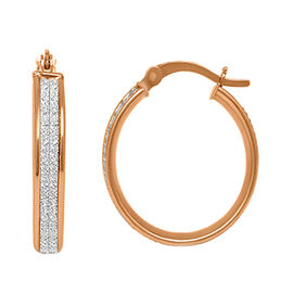 New York Close Out Rose Gold Overlay Sterling Silver Simulated Diamond Spritz Hoop Earrings (with Cl
