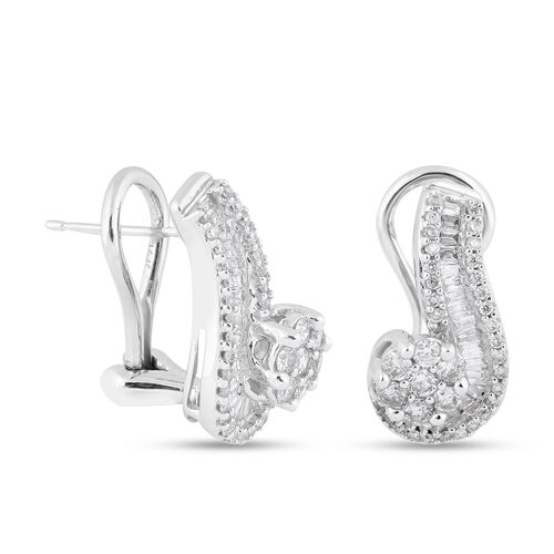 NY Close Out 14K White Gold Diamond (I1-I2/G-H) Swirl Earrings (with French Clip Back) 1.00 Ct