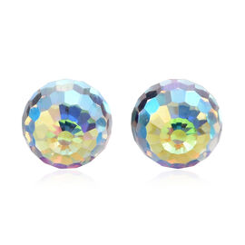 J Francis - Crystal from Swarovski - AB Crystal (Ball) Stud Earrings (with Push Back) in 14K Gold Overlay Sterling Silver