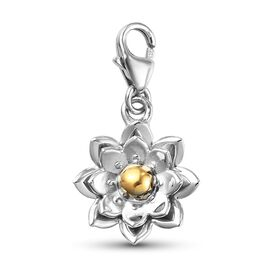 Platinum Overlay Sterling Silver Flower Charm