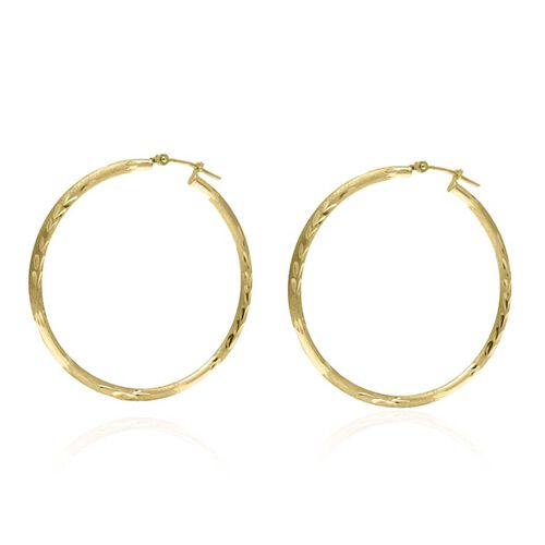 9K Yellow Gold Diamond Cut Hoop Earrings (with Clasp) Gram Wt 1.76 Grams