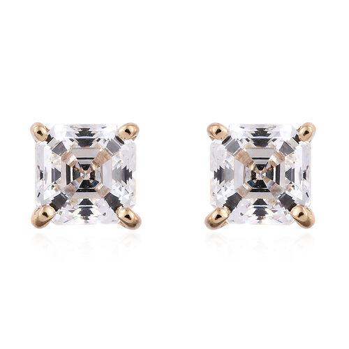 J Francis - 9K Yellow Gold (Asscher Cut) Stud Earrings (with Push Back) Made with SWAROVSKI ZIRCONIA
