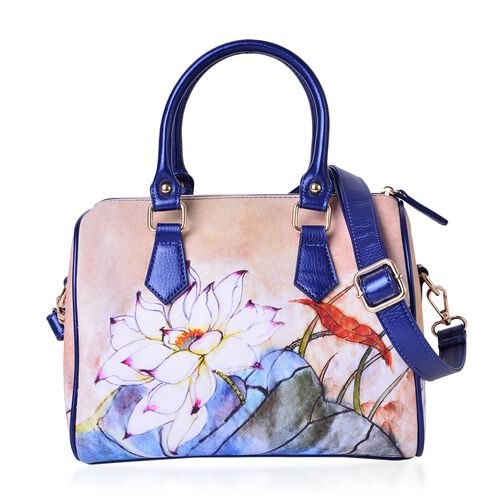 Limited Edition-Beauty East Lotus Flower Pattern Water Resistant Bowling Bag with Adjustable and Removable Shoulder Strap (Size 28.5X21X17 Cm)