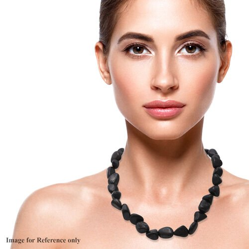 Shungite Beads Necklace (Size 18) in Sterling Silver 350.00 Ct.