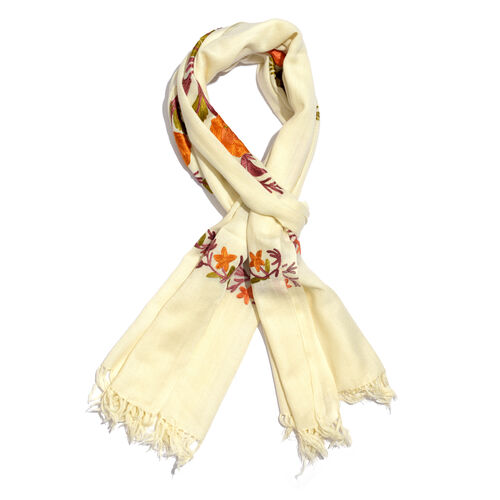 100% Merino Wool Cream, Orange and Multi Colour Floral and Leaves Embroidered Scarf with Tassels (Si