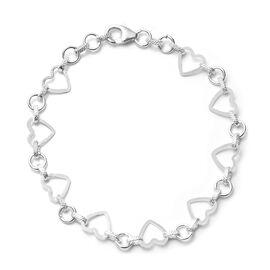 Designer Inspired- Sterling Silver Heart Bracelet (Size 7.5), Silver wt 4.43 Gms.