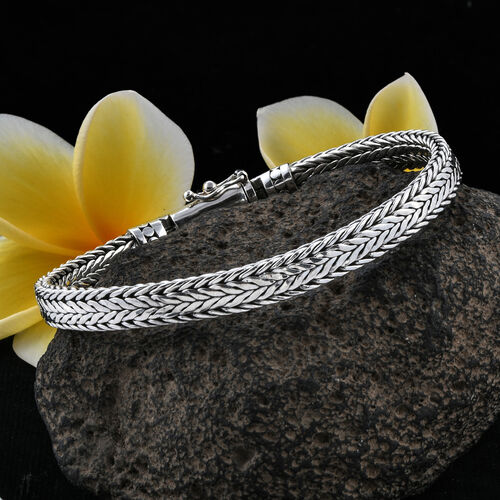 Royal Bali Collection Sterling Silver Tulang Naga Bracelet (Size 8), Silver wt 31.83 Gms.