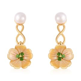 Yellow Mother of Pearl (3.75 Ct),Fresh Water Pearl ,Russian Diopside Sterling Silver Earring  5.650