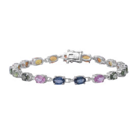 One Time Deal - Rainbow Sapphire (Oval 6x4) Bracelet (Size 7.5) in Rhodium Overlay Sterling Silver 1